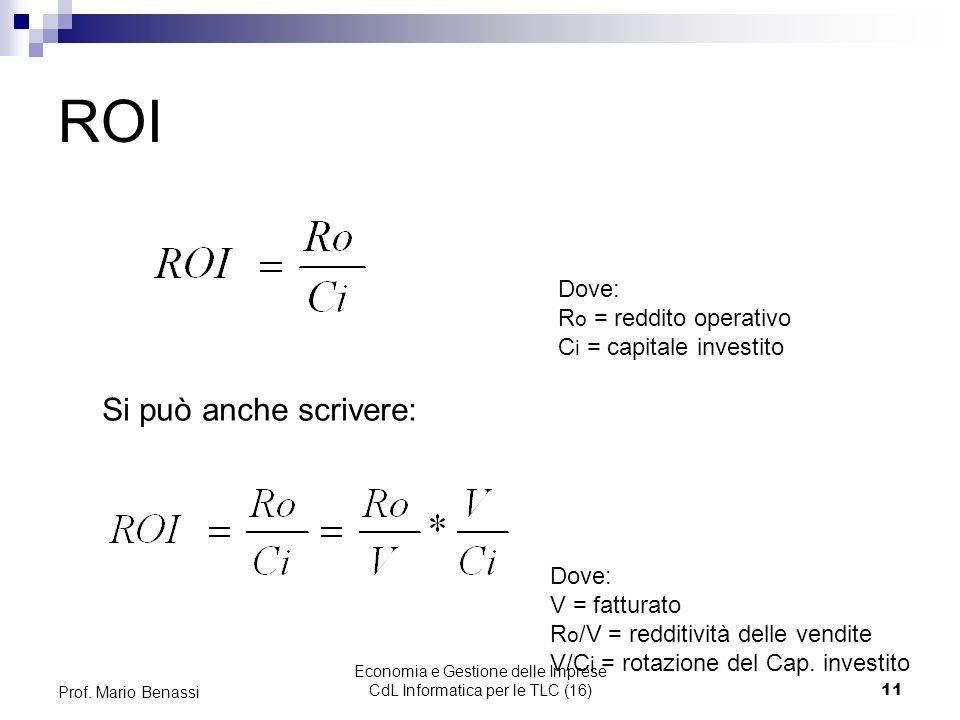 Economia e Gestione delle Imprese CdL Informatica per le TLC (16)11 Prof. Mario Benassi ROI Dove: R o = reddito operativo C i = capitale investito Dov