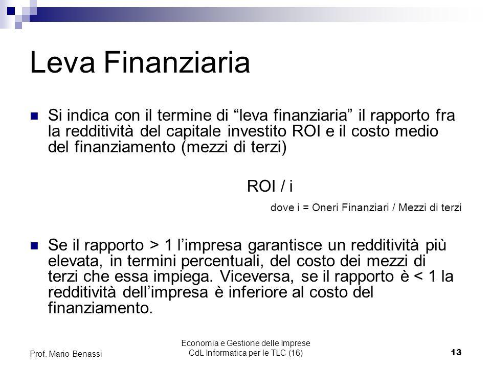 Economia e Gestione delle Imprese CdL Informatica per le TLC (16)13 Prof. Mario Benassi Leva Finanziaria Si indica con il termine di leva finanziaria