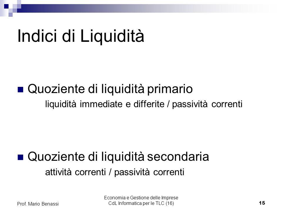 Economia e Gestione delle Imprese CdL Informatica per le TLC (16)15 Prof. Mario Benassi Indici di Liquidità Quoziente di liquidità primario liquidità