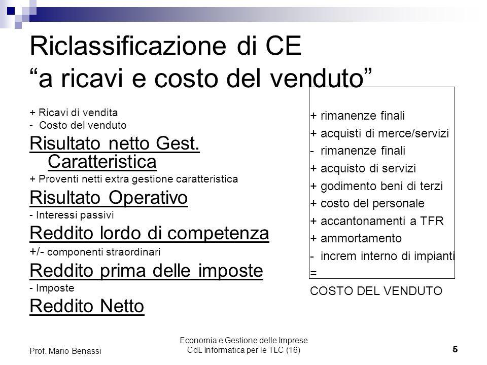 Economia e Gestione delle Imprese CdL Informatica per le TLC (16)16 Prof.