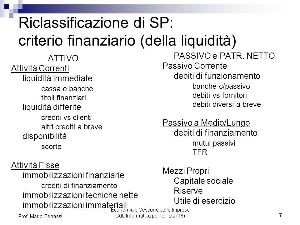 Economia e Gestione delle Imprese CdL Informatica per le TLC (16)7 Prof. Mario Benassi Riclassificazione di SP: criterio finanziario (della liquidità)