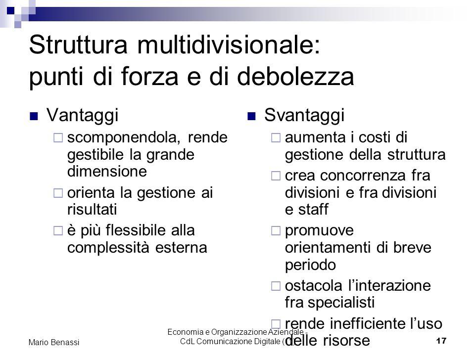 Economia e Organizzazione Aziendale - CdL Comunicazione Digitale (11)17 Mario Benassi Struttura multidivisionale: punti di forza e di debolezza Vantag