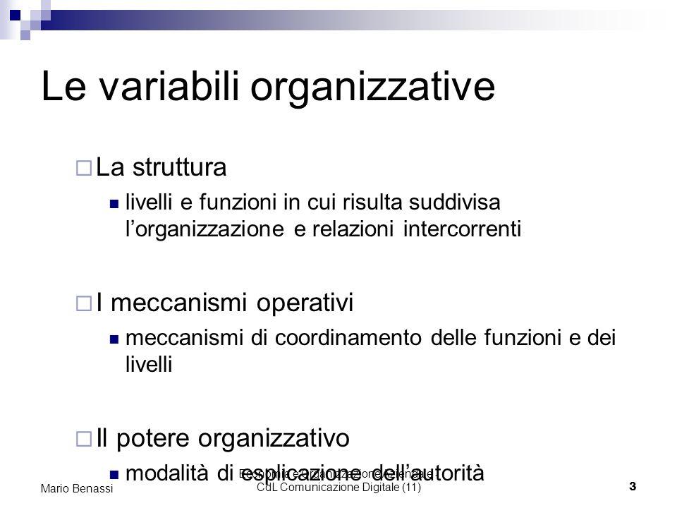 Economia e Organizzazione Aziendale - CdL Comunicazione Digitale (11)3 Mario Benassi Le variabili organizzative La struttura livelli e funzioni in cui