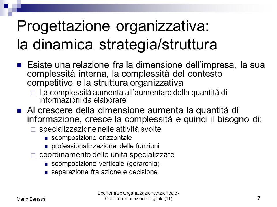 Economia e Organizzazione Aziendale - CdL Comunicazione Digitale (11)7 Mario Benassi Progettazione organizzativa: la dinamica strategia/struttura Esis