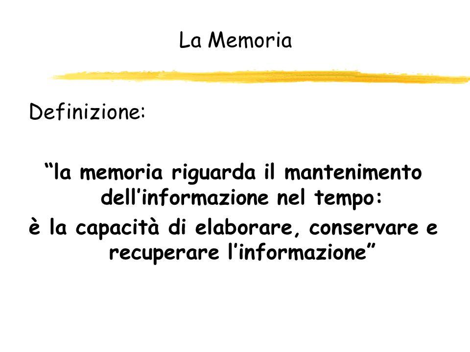 Magazzini della memoria zAtkinson e Shiffrin,1968; Waugh e Norman, 1965, hanno descritto larchitettura basilare del sistema della memoria, in termini di numero di magazzini: zmagazzini sensoriali: che sono specifici per ciascuna modalità sensoriale e conservano linformazione per un tempo breve zmagazzino di memoria a breve termine: a capacità limitata zmagazzino di memoria a lungo termine: a capacità praticamente illimitata che può conservare linformazione per periodi estremamente lunghi