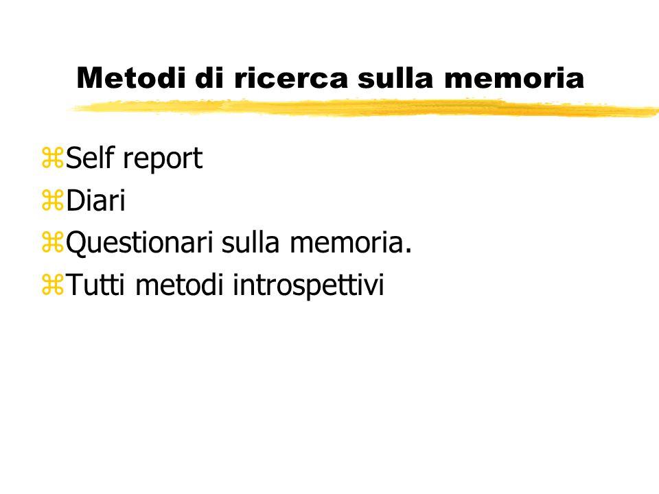 Metodi di ricerca sulla memoria zSelf report zDiari zQuestionari sulla memoria.