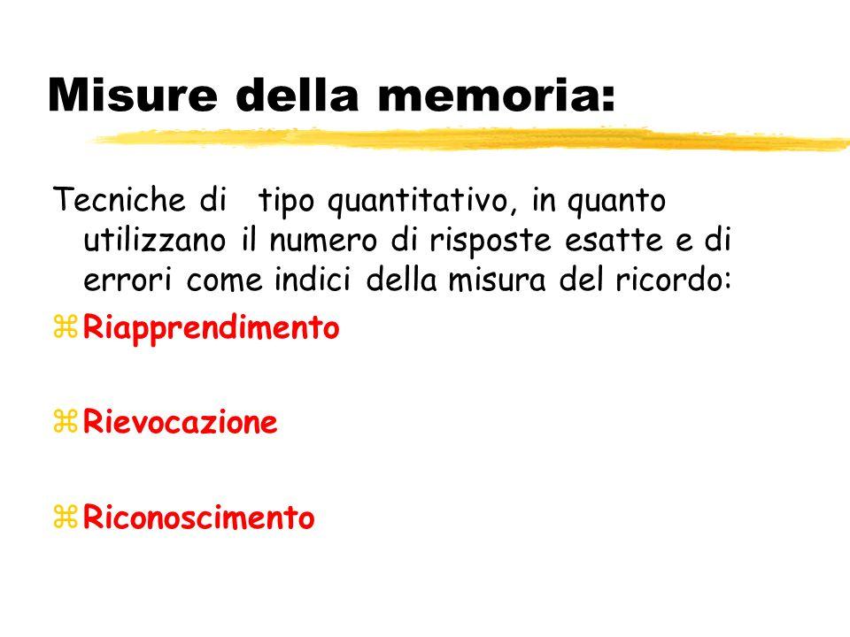Misure della memoria: Tecniche di tipo quantitativo, in quanto utilizzano il numero di risposte esatte e di errori come indici della misura del ricordo: zRiapprendimento zRievocazione zRiconoscimento