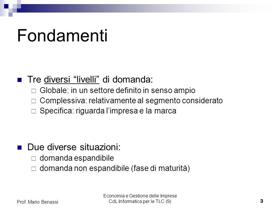 Economia e Gestione delle Imprese CdL Informatica per le TLC (9)3 Prof.