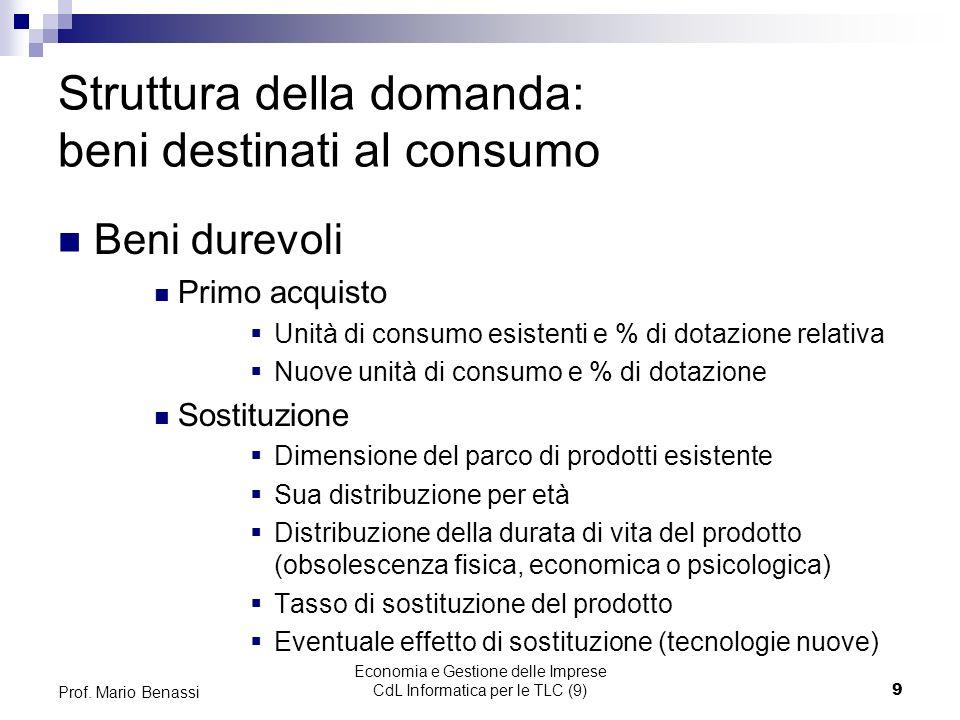 Economia e Gestione delle Imprese CdL Informatica per le TLC (9)9 Prof.