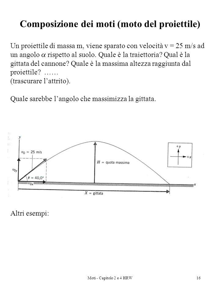Moti - Capitolo 2 e 4 HRW16 Composizione dei moti (moto del proiettile) Un proiettile di massa m, viene sparato con velocità v = 25 m/s ad un angolo r