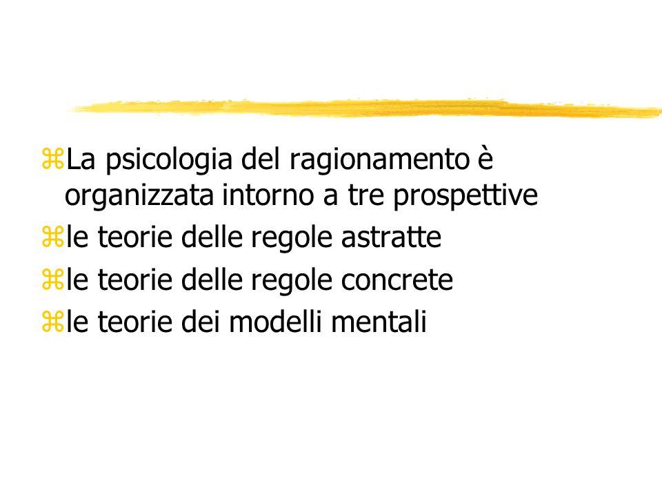 zLa psicologia del ragionamento è organizzata intorno a tre prospettive zle teorie delle regole astratte zle teorie delle regole concrete zle teorie d