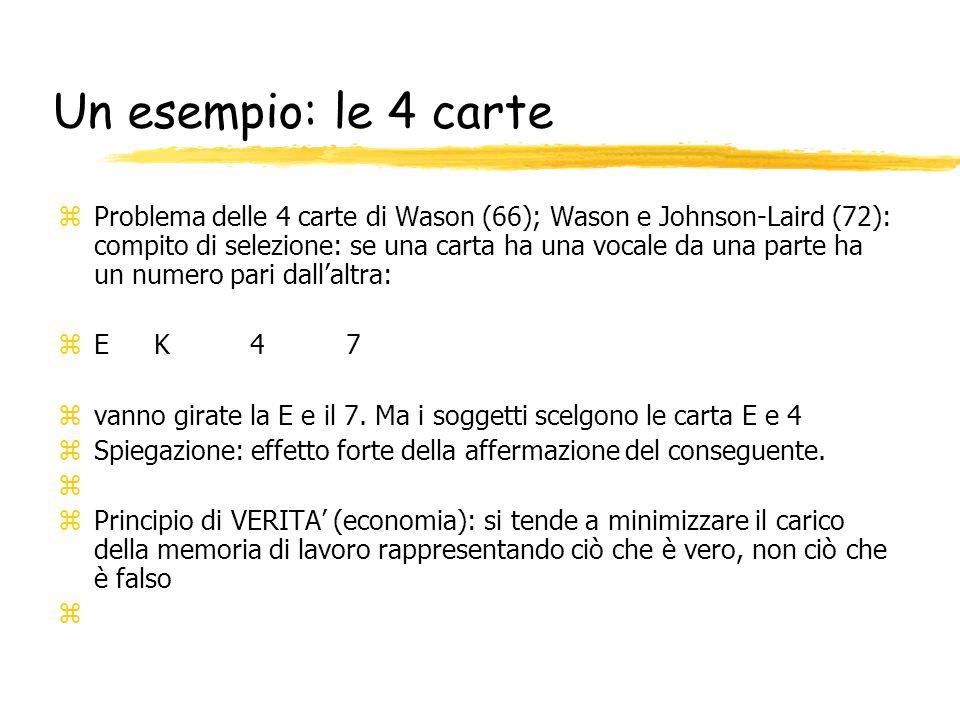 Un esempio: le 4 carte z Problema delle 4 carte di Wason (66); Wason e Johnson-Laird (72): compito di selezione: se una carta ha una vocale da una par