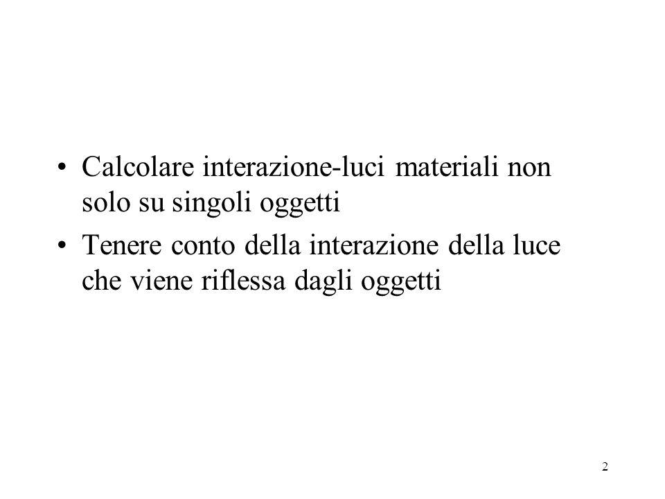 2 Calcolare interazione-luci materiali non solo su singoli oggetti Tenere conto della interazione della luce che viene riflessa dagli oggetti