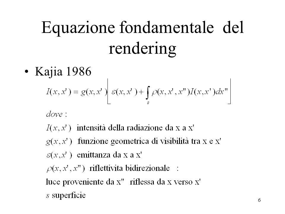 6 Equazione fondamentale del rendering Kajia 1986