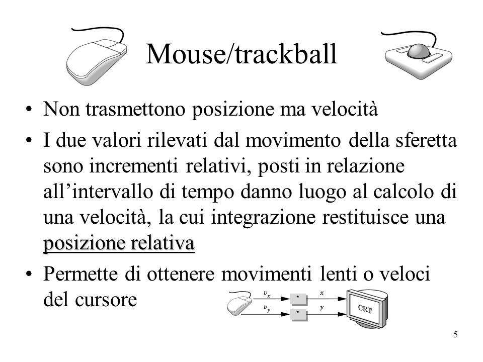 5 Mouse/trackball Non trasmettono posizione ma velocità posizione relativaI due valori rilevati dal movimento della sferetta sono incrementi relativi, posti in relazione allintervallo di tempo danno luogo al calcolo di una velocità, la cui integrazione restituisce una posizione relativa Permette di ottenere movimenti lenti o veloci del cursore