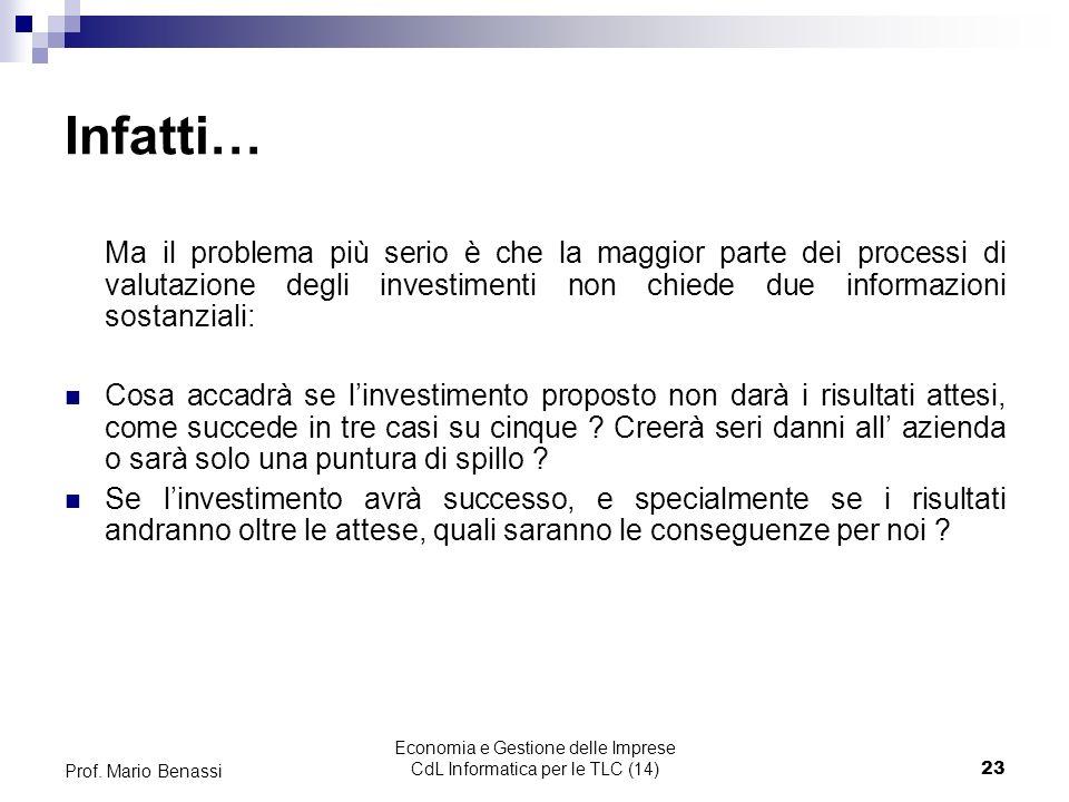 Economia e Gestione delle Imprese CdL Informatica per le TLC (14)23 Prof.