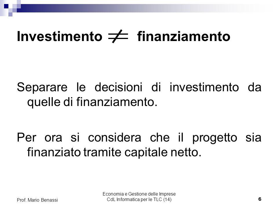 Economia e Gestione delle Imprese CdL Informatica per le TLC (14)6 Prof.