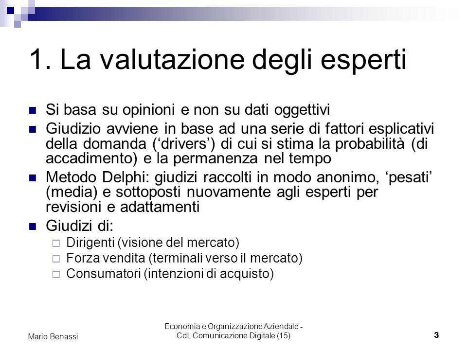 Economia e Organizzazione Aziendale - CdL Comunicazione Digitale (15)3 Mario Benassi 1. La valutazione degli esperti Si basa su opinioni e non su dati