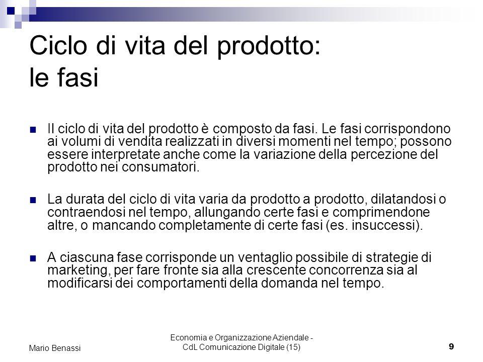 Economia e Organizzazione Aziendale - CdL Comunicazione Digitale (15)9 Mario Benassi Ciclo di vita del prodotto: le fasi Il ciclo di vita del prodotto