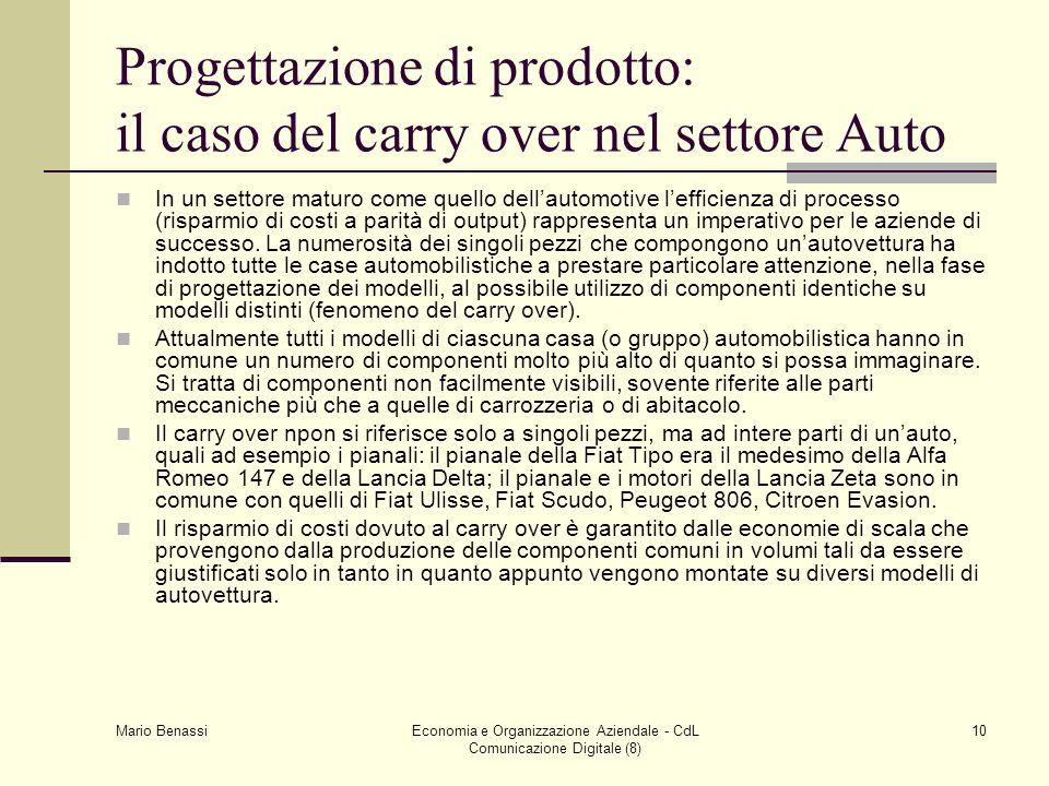 Mario Benassi Economia e Organizzazione Aziendale - CdL Comunicazione Digitale (8) 10 Progettazione di prodotto: il caso del carry over nel settore Au
