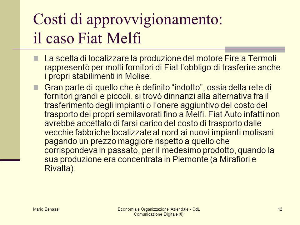 Mario Benassi Economia e Organizzazione Aziendale - CdL Comunicazione Digitale (8) 12 Costi di approvvigionamento: il caso Fiat Melfi La scelta di loc