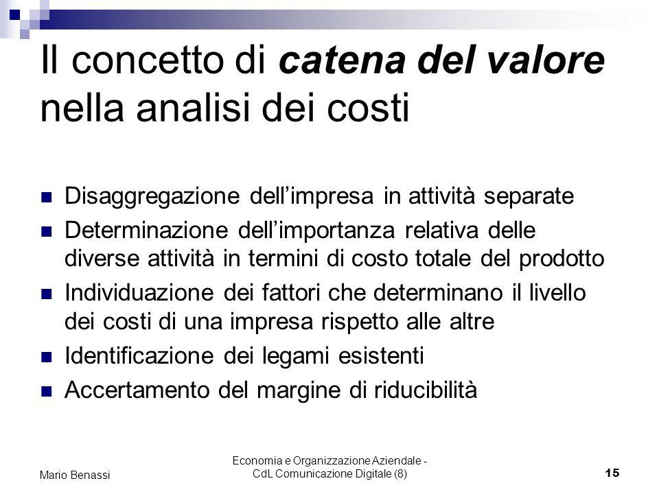Economia e Organizzazione Aziendale - CdL Comunicazione Digitale (8)15 Mario Benassi Il concetto di catena del valore nella analisi dei costi Disaggre