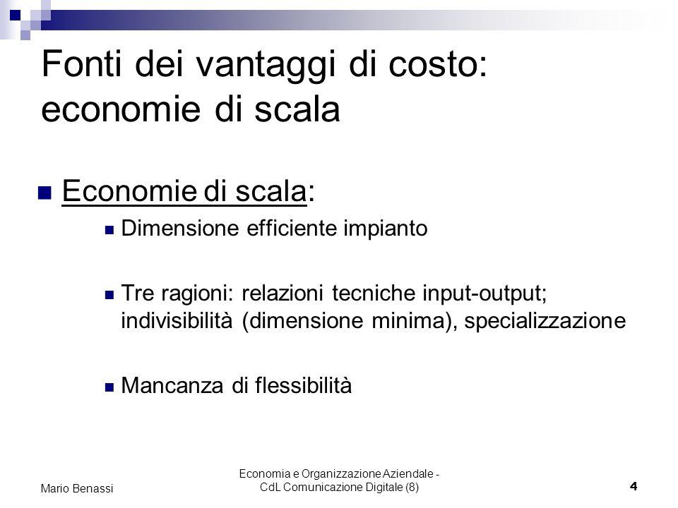 Economia e Organizzazione Aziendale - CdL Comunicazione Digitale (8)4 Mario Benassi Fonti dei vantaggi di costo: economie di scala Economie di scala: