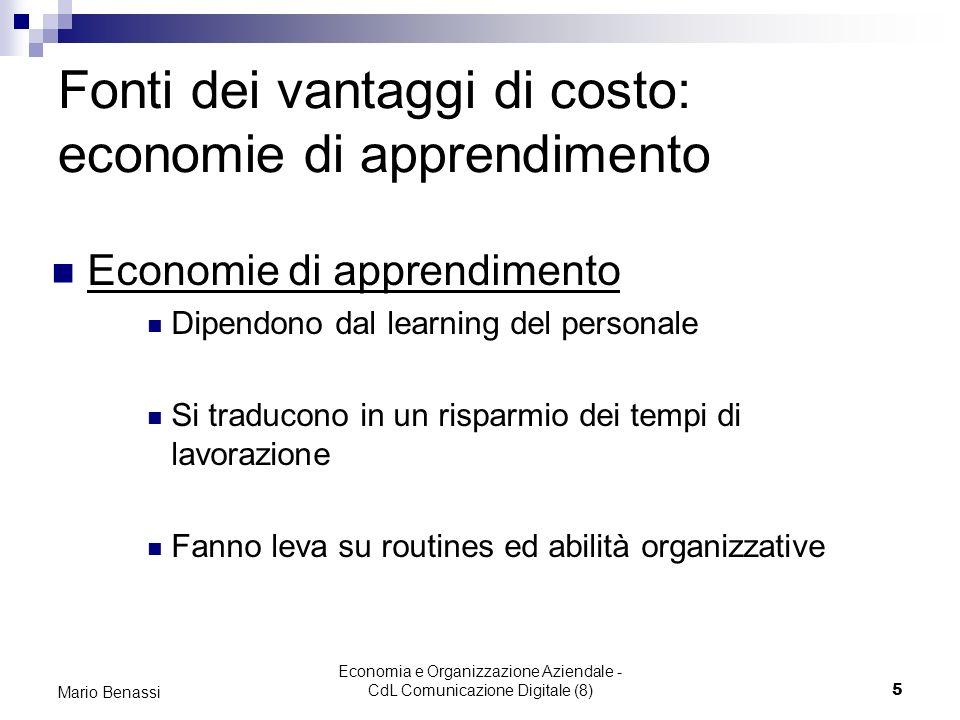 Economia e Organizzazione Aziendale - CdL Comunicazione Digitale (8)5 Mario Benassi Fonti dei vantaggi di costo: economie di apprendimento Economie di