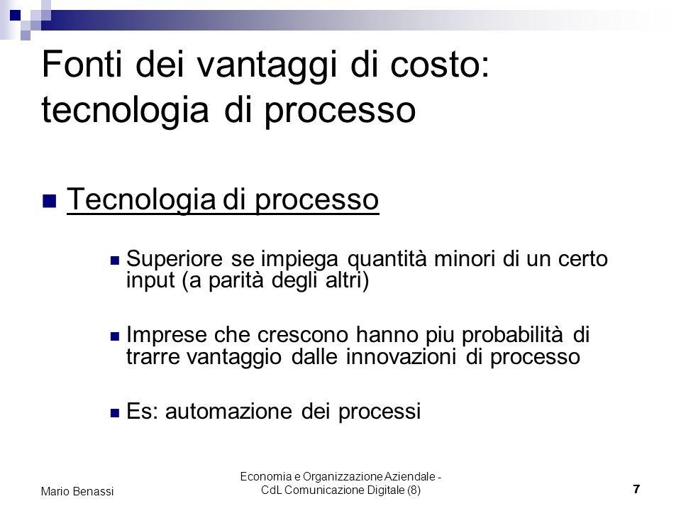 Economia e Organizzazione Aziendale - CdL Comunicazione Digitale (8)7 Mario Benassi Fonti dei vantaggi di costo: tecnologia di processo Tecnologia di