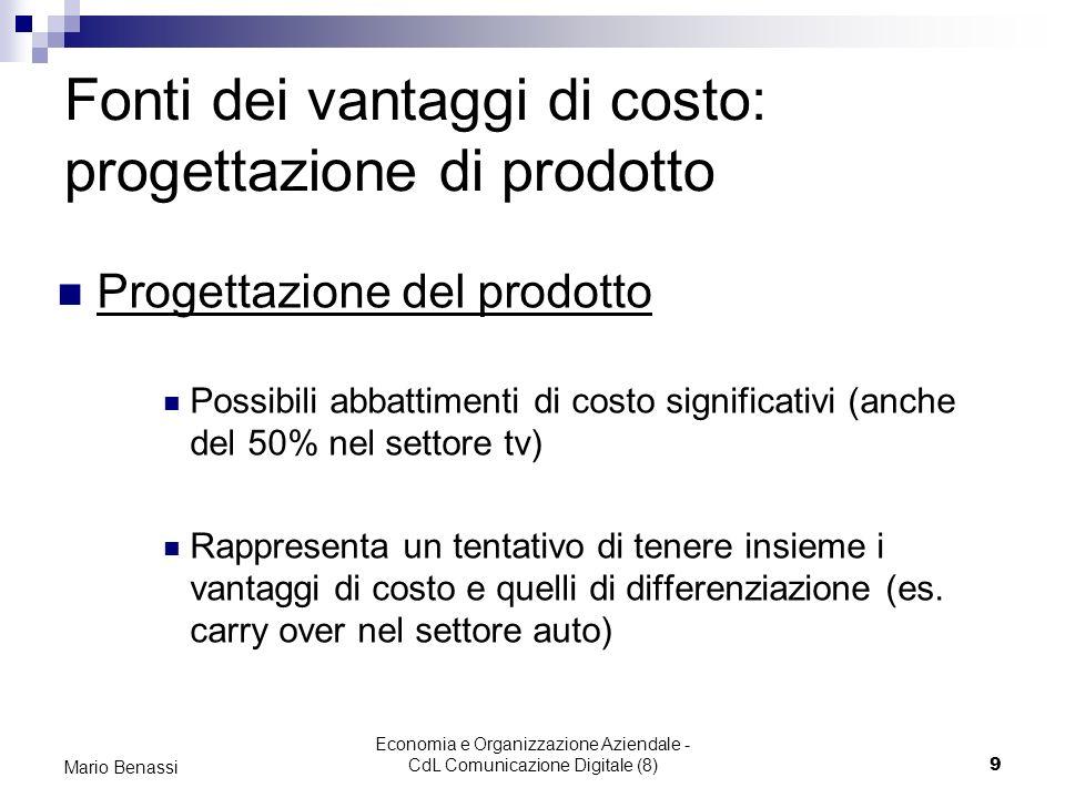 Economia e Organizzazione Aziendale - CdL Comunicazione Digitale (8)9 Mario Benassi Fonti dei vantaggi di costo: progettazione di prodotto Progettazio
