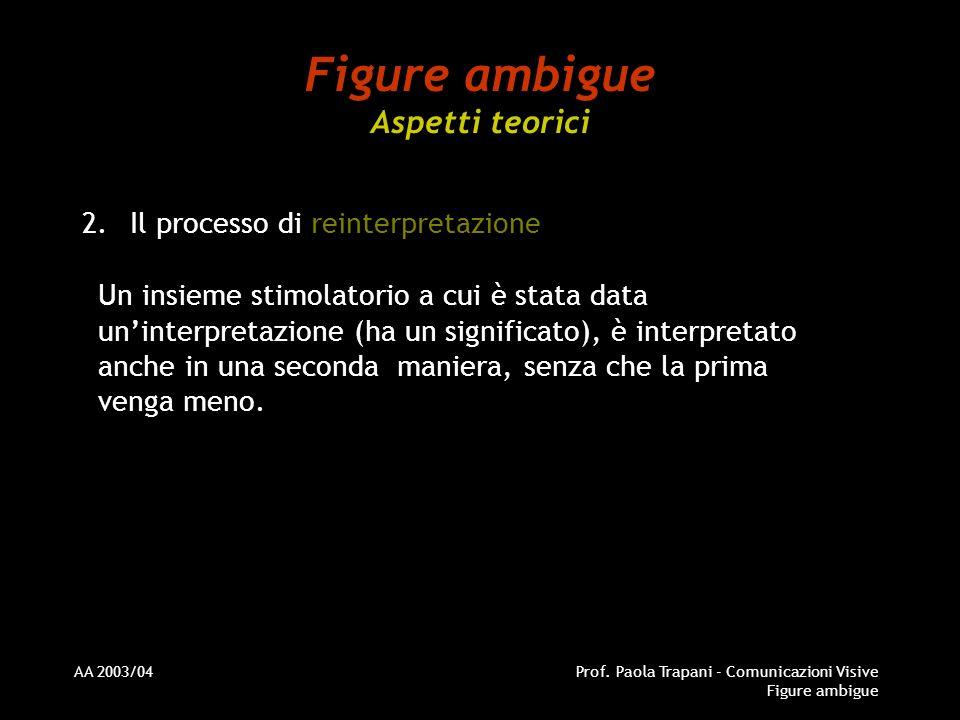 AA 2003/04Prof. Paola Trapani - Comunicazioni Visive Figure ambigue Figure ambigue Aspetti teorici 2.Il processo di reinterpretazione Un insieme stimo