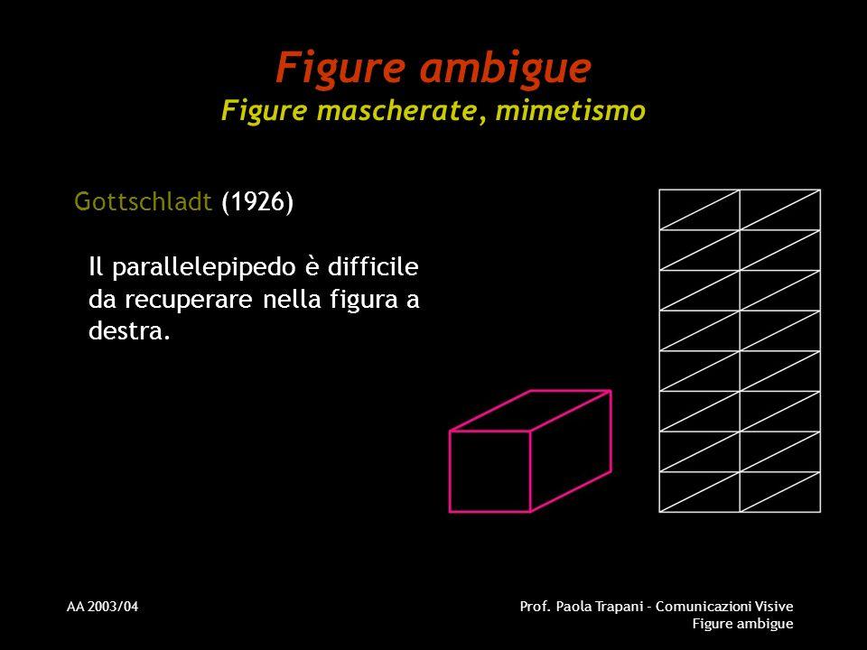 AA 2003/04Prof. Paola Trapani - Comunicazioni Visive Figure ambigue Figure ambigue Figure mascherate, mimetismo Gottschladt (1926) Il parallelepipedo