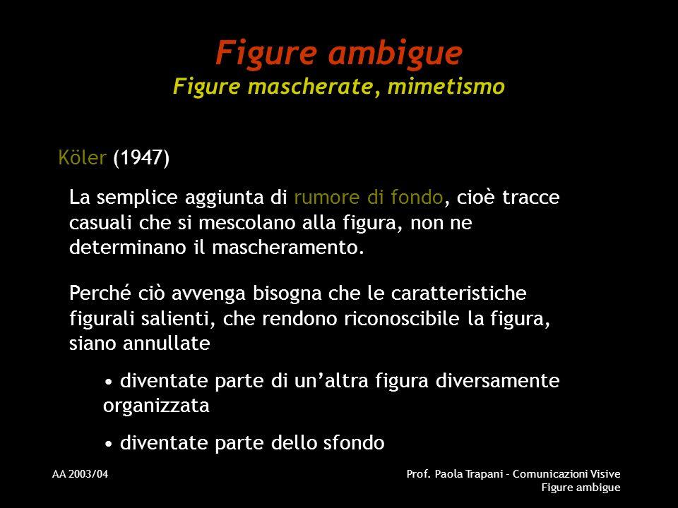 AA 2003/04Prof. Paola Trapani - Comunicazioni Visive Figure ambigue Figure ambigue Figure mascherate, mimetismo Köler (1947) La semplice aggiunta di r