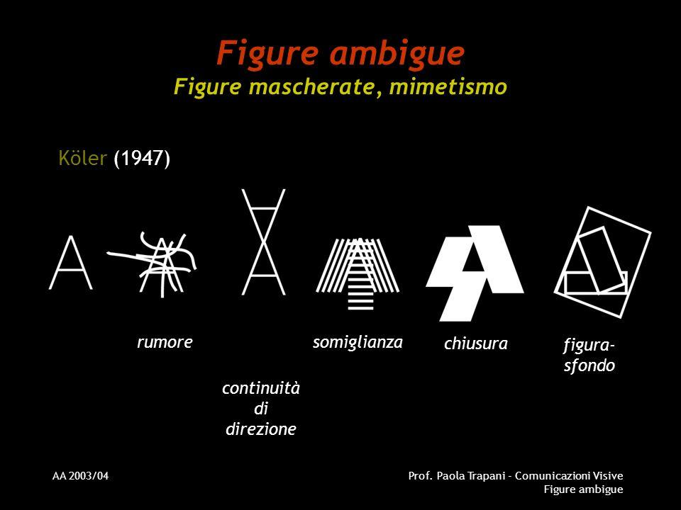 AA 2003/04Prof. Paola Trapani - Comunicazioni Visive Figure ambigue Figure ambigue Figure mascherate, mimetismo Köler (1947) rumore continuità di dire