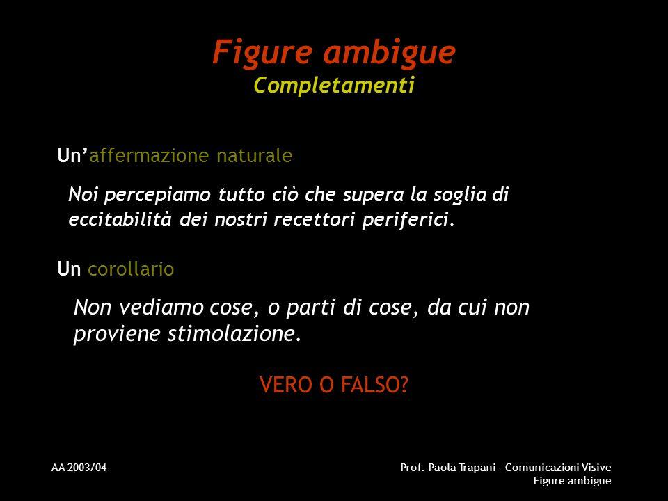 AA 2003/04Prof. Paola Trapani - Comunicazioni Visive Figure ambigue Figure ambigue Completamenti Unaffermazione naturale Noi percepiamo tutto ciò che