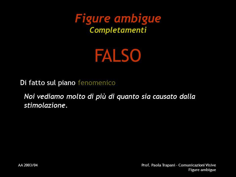 AA 2003/04Prof. Paola Trapani - Comunicazioni Visive Figure ambigue Figure ambigue Completamenti Di fatto sul piano fenomenico Noi vediamo molto di pi