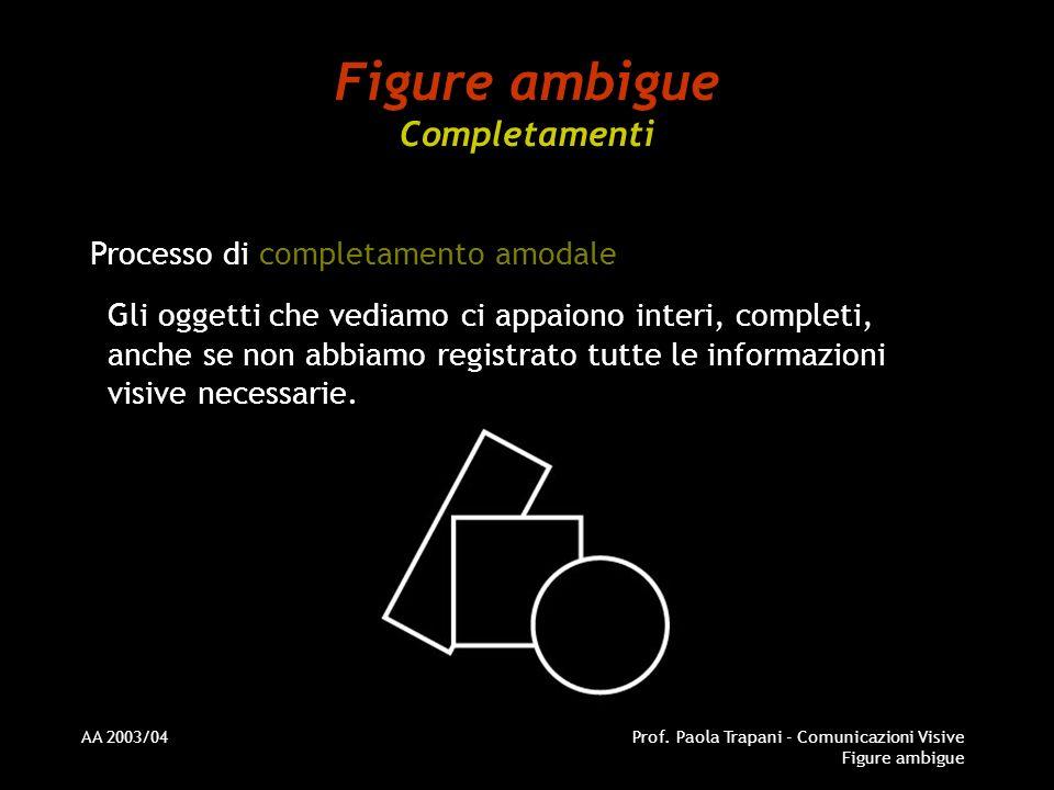 AA 2003/04Prof. Paola Trapani - Comunicazioni Visive Figure ambigue Figure ambigue Completamenti Processo di completamento amodale Gli oggetti che ved