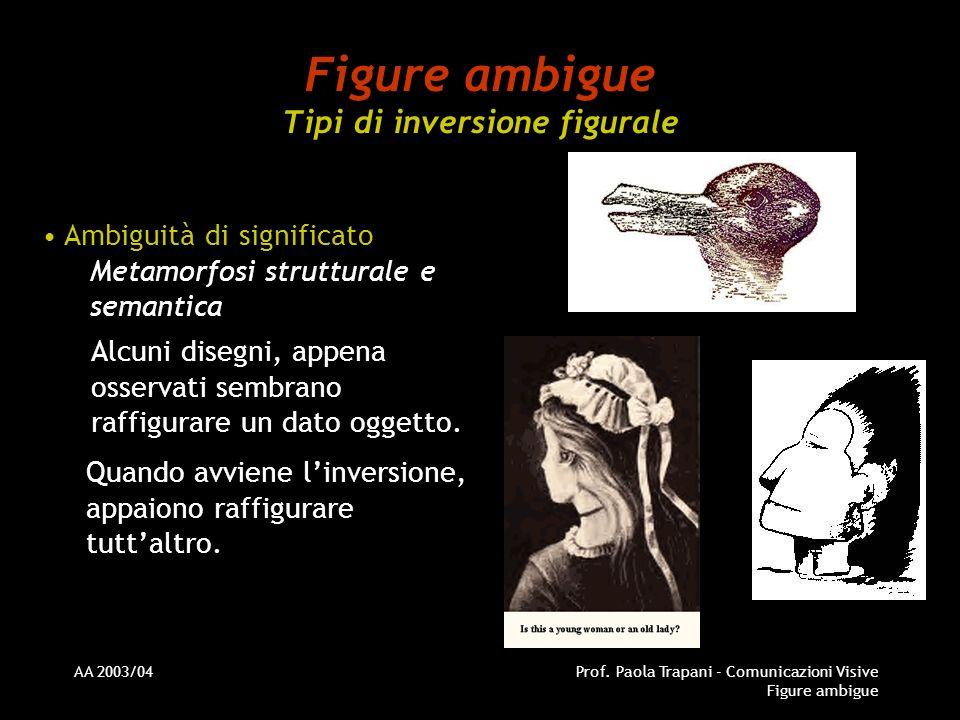 AA 2003/04Prof. Paola Trapani - Comunicazioni Visive Figure ambigue Figure ambigue Tipi di inversione figurale Ambiguità di significato Metamorfosi st