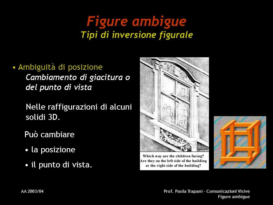 AA 2003/04Prof. Paola Trapani - Comunicazioni Visive Figure ambigue Figure ambigue Tipi di inversione figurale Ambiguità di posizione Cambiamento di g