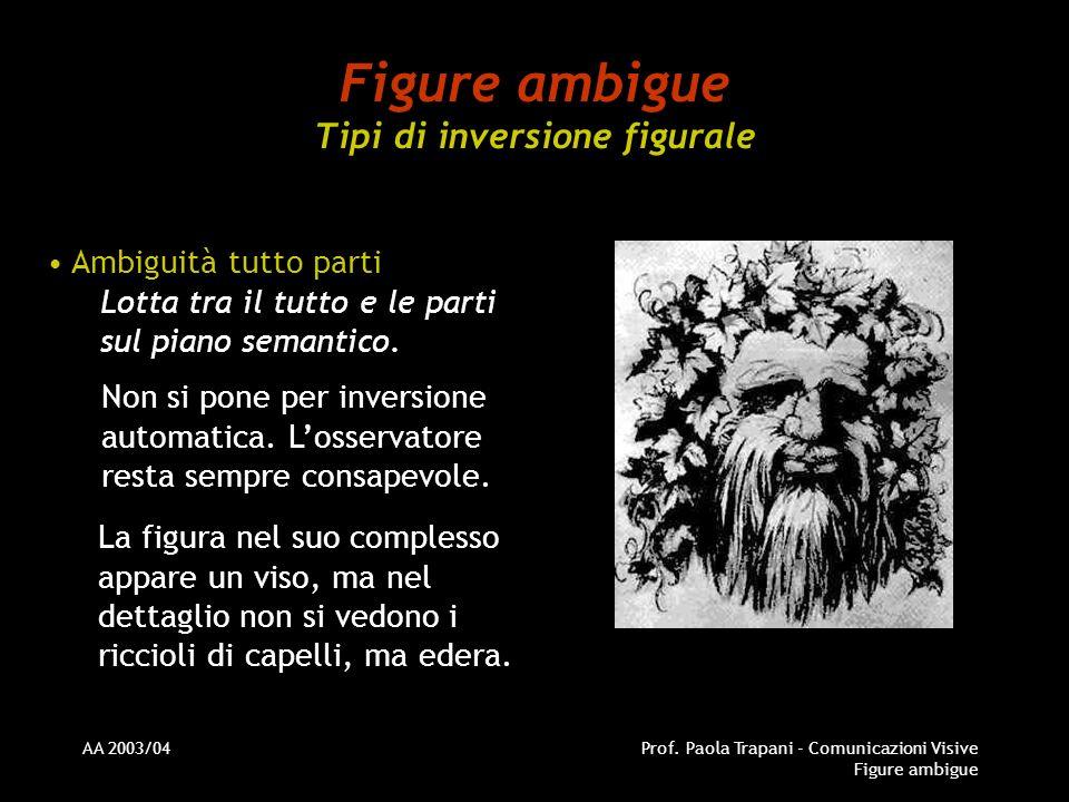 AA 2003/04Prof. Paola Trapani - Comunicazioni Visive Figure ambigue Figure ambigue Tipi di inversione figurale Ambiguità tutto parti Lotta tra il tutt