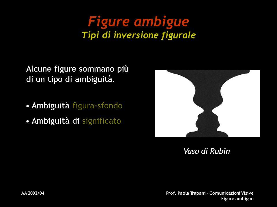 AA 2003/04Prof. Paola Trapani - Comunicazioni Visive Figure ambigue Figure ambigue Tipi di inversione figurale Alcune figure sommano più di un tipo di