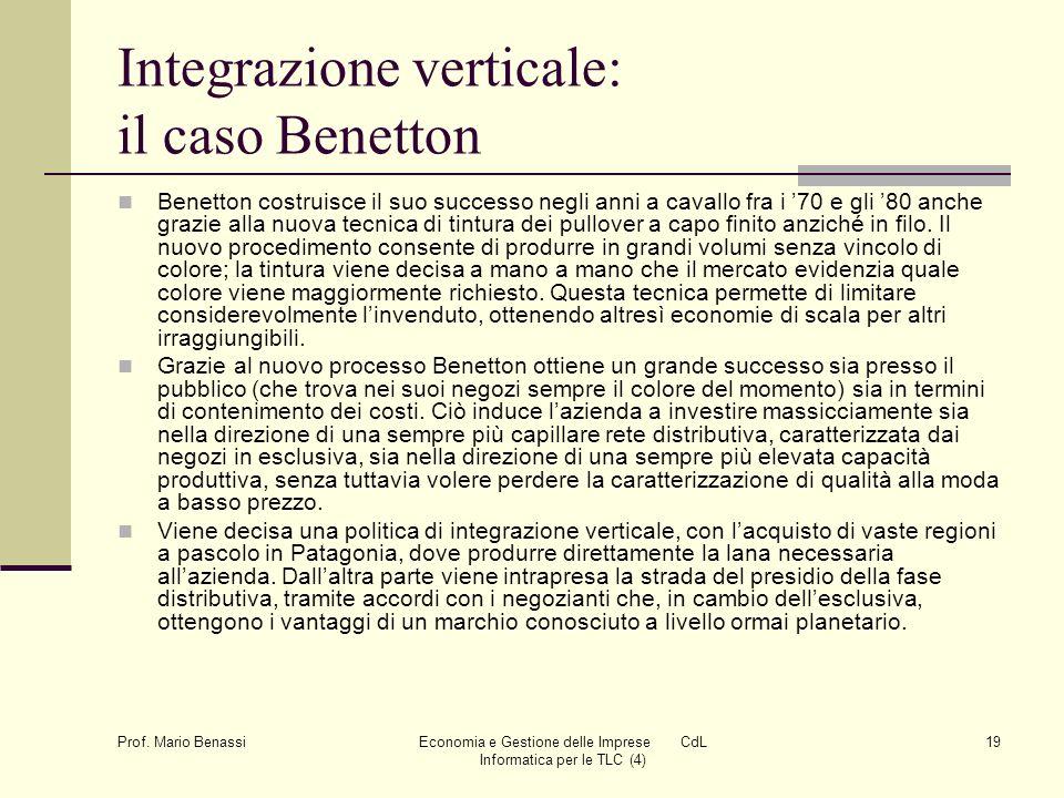 Prof. Mario Benassi Economia e Gestione delle Imprese CdL Informatica per le TLC (4) 19 Integrazione verticale: il caso Benetton Benetton costruisce i