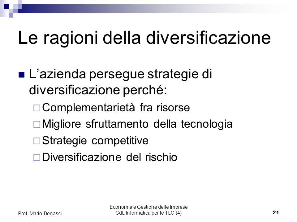 Economia e Gestione delle Imprese CdL Informatica per le TLC (4)21 Prof.