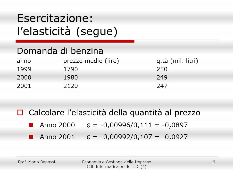 Prof. Mario BenassiEconomia e Gestione delle Imprese CdL Informatica per le TLC (4) 9 Esercitazione: lelasticità (segue) Domanda di benzina annoprezzo