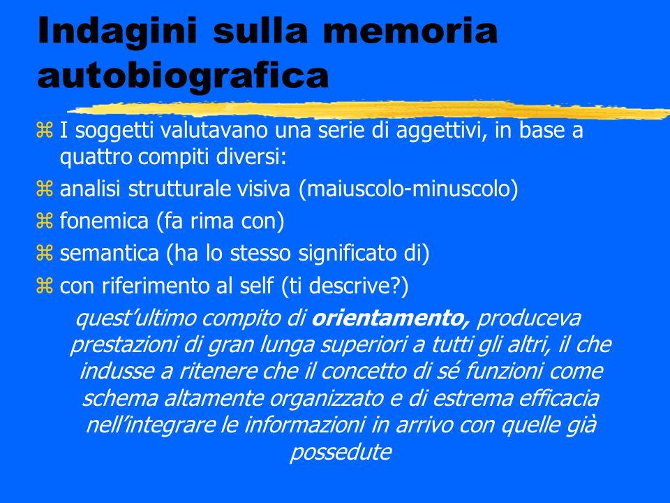 Indagini sulla memoria autobiografica zI soggetti valutavano una serie di aggettivi, in base a quattro compiti diversi: zanalisi strutturale visiva (m