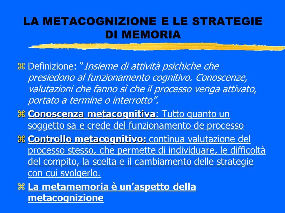 LA METACOGNIZIONE E LE STRATEGIE DI MEMORIA zDefinizione: Insieme di attività psichiche che presiedono al funzionamento cognitivo. Conoscenze, valutaz