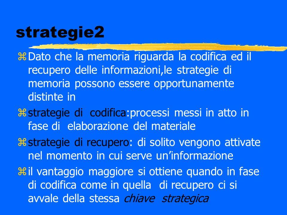 strategie2 zDato che la memoria riguarda la codifica ed il recupero delle informazioni,le strategie di memoria possono essere opportunamente distinte