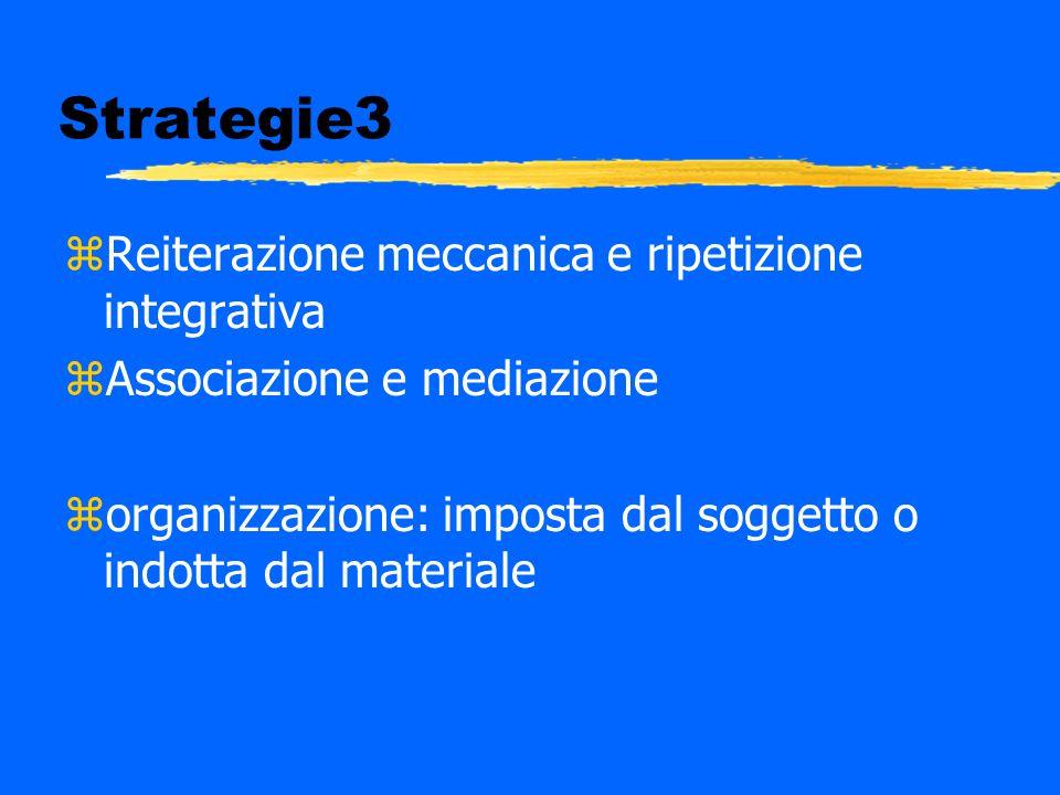 Strategie3 zReiterazione meccanica e ripetizione integrativa zAssociazione e mediazione zorganizzazione: imposta dal soggetto o indotta dal materiale