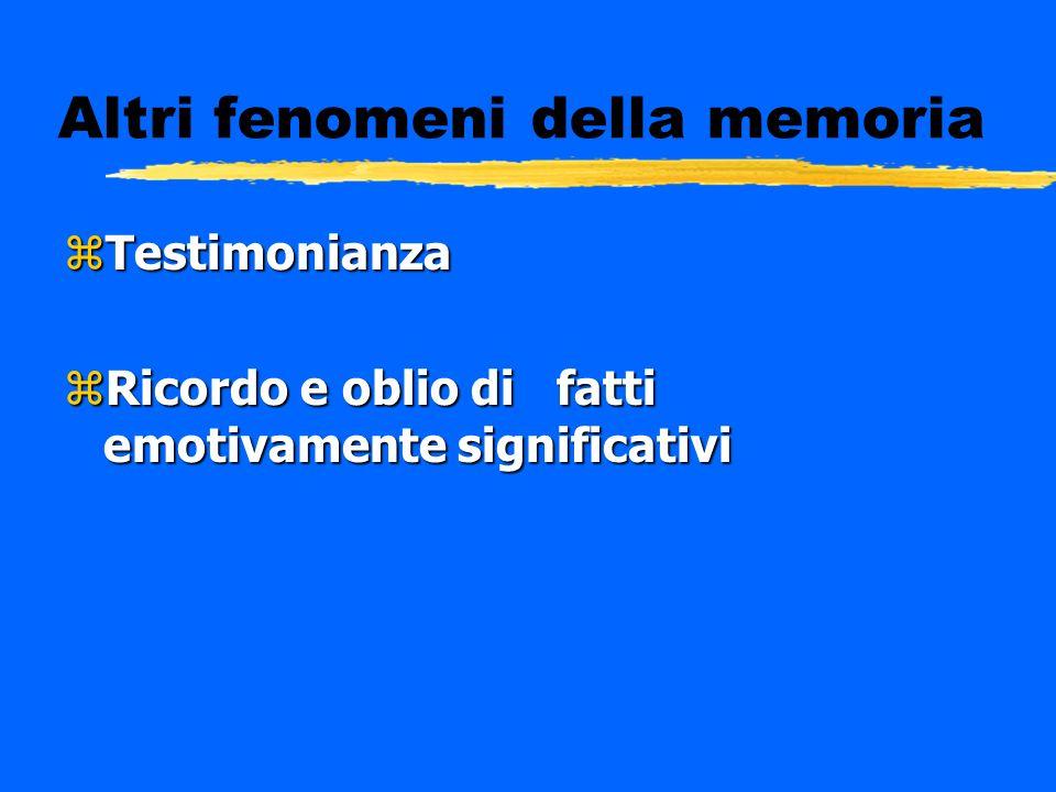Altri fenomeni della memoria zTestimonianza zRicordo e oblio di fatti emotivamente significativi