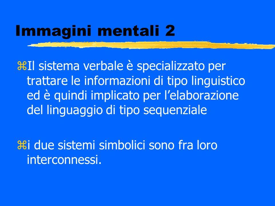 Immagini mentali 2 zIl sistema verbale è specializzato per trattare le informazioni di tipo linguistico ed è quindi implicato per lelaborazione del li